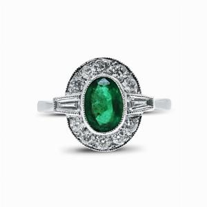 Oval Emerald And Diamond Cluster Ring - 0.80ct